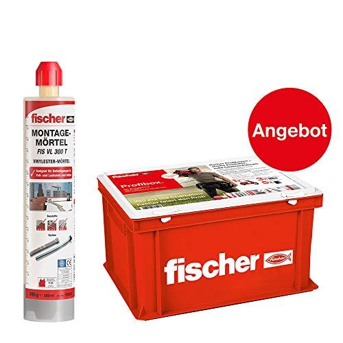 Fischer 553657 montagemateriaal FIS VL 300 T-voor standaardtoepassingen in volle-/geperforeerde metselwerk en gescheurd beton-20 st. (incl. 40 statische mixer, 1 ambachtskoffer), grijs