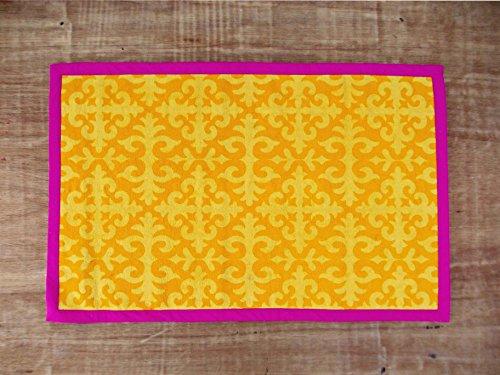 Alfombra de algodón VLiving cortada a mano, diseño marroquí, color amarillo y...