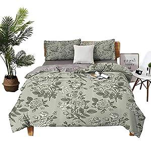 DRAGON VINES 4pcs Bedding Set Flat Bed Sheet Pillowcase King Size Sheets Bamboo Tree Leaves Sketchy Zen Based Spiritual Reflective Japanese Nature Graphic Art Sage Green Winter Bedding