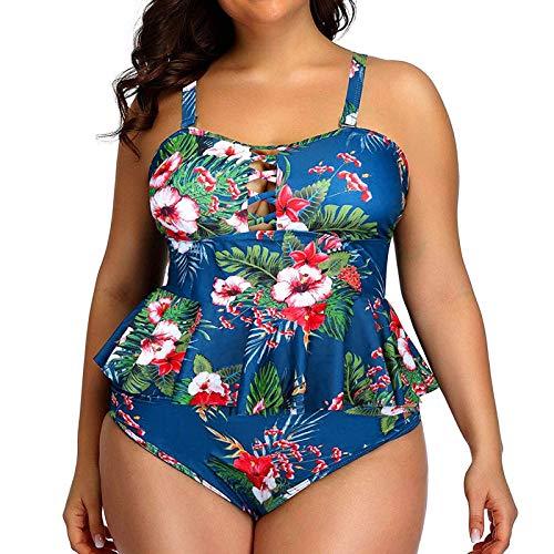 YANFANG Ropa De Playa para Mujer BañAdor Bikini Conjunto Tankini con Espalda Tiras Y Estampado Talla Grande Trajes BañO Dos Piezas Traje BañO,Conjunto,Azul,L