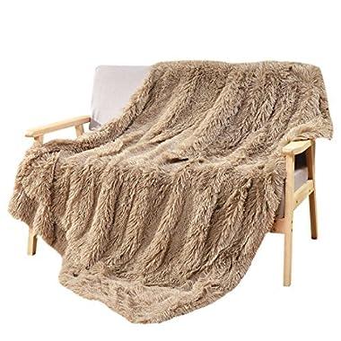 DECOSY Silky Soft Hand Feeling Animal Faux Fur Warm Throw Blanket Beige 60 x 70  - Reversible Fleece Flannel Shaggy TV Blanket for Sofa Couch - All Season Quilt Fuzzy Comforter Throw Blanket