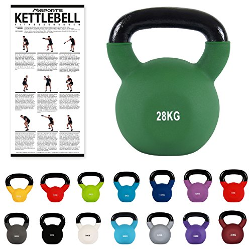 MSPORTS Kettlebell Neopren 2 – 30 kg inkl. Übungsposter Kugelhantel (28 kg - Olivgrün)
