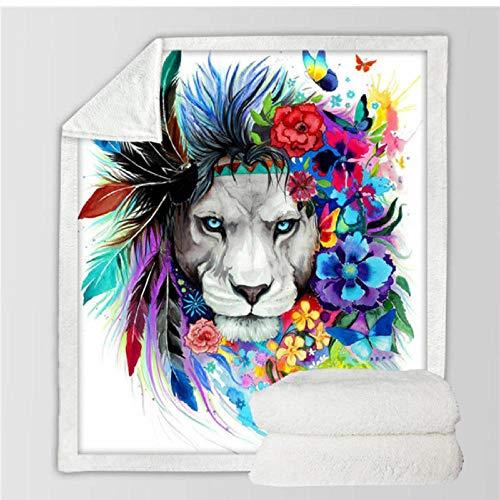 Xzfddn Lion Galaxy Mantas para camas Manta de lino Acuarela Animal Sherpa Manta Luna Felpa Colcha Modelo 2