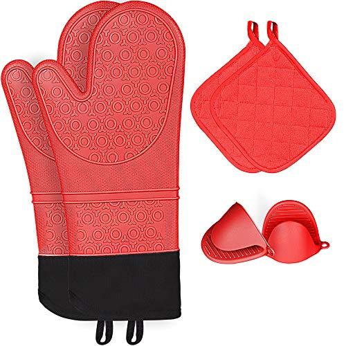 Kiya - Guantes de horno y agarraderas de cocina (juego de 6 piezas), guantes de silicona resistentes al calor, guantes de horno de silicona con guantes de pinza y agarraderas, rojo