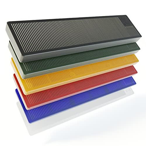 BAUHELD® Universal Verglasungsklötze 24x100mm [300/600 Stück] - Mehrfarbige Fenster-Abstandshalter Keile aus Kunststoff [SORTIERT] - Unterlegplättchen Set in den Größen: 1, 2, 3, 4, 5, 6mm