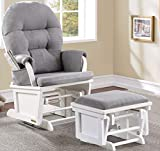 Napoli Glider Chair with Nursing ottoman and Retractable foot Rest, White with Gray