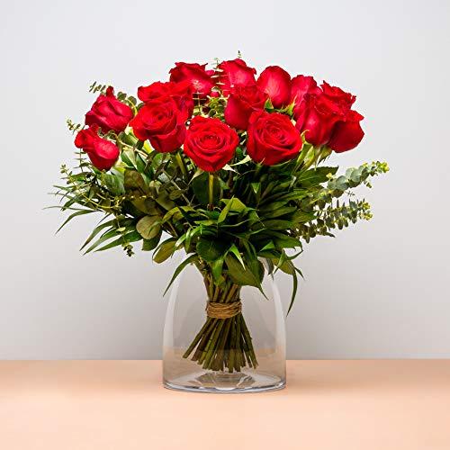 Ramo de 18 Rosas - Versalles - Envío de Ramos de Flores Naturales a Domicilio 24h Gratis - Flores Frescas - Tarjeta dedicatoria incluida de Regalo - Caja Especial para Ramos de Flores Naturales…