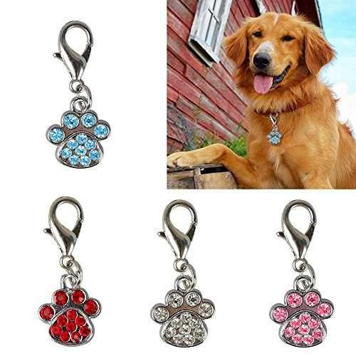 Bodhi2000 4pcs Crystal Rhinestone Paw Collar Charm Bling for Cat, Dog, Bag or Phone
