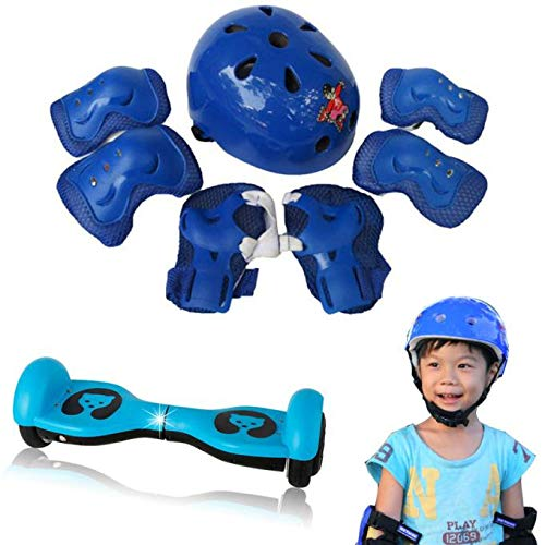 kashyk Kinder Fahrradhelm,7pcs Kid Balancing Bike Roller Knie Ellenbogen Handgelenk Helm Pad Set,Skaterhelm Kinderhelm für Fahrrad Skateboard Schifahren