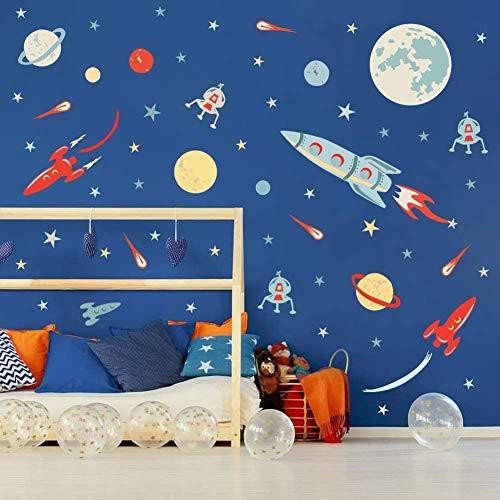 Buntes Weltraum-Wandtattoo (73 Stück), Sonnensystem, Wandaufkleber für Kinderzimmer, Planeten, Raumschiff, Sterne, Aufkleber, Spielzimmer, Klassenzimmer-Dekoration