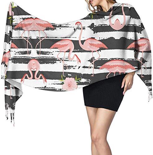 Quecci Bufanda de mantón,Grunge White And Black Stripe Flamingo Pattern Women's Long Large Shawl Wrap Oversized Winter/Fall Warm Blanket Scarf Unisex 68-196cm