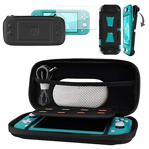 CoBak Carrying Case for Nintendo Switch Lite - with 1 Screen Protector and 1 Grip Case, Ultra Slim Premium EVA Travel Pouch Protective Cover, 8 Game Cartridges, Black
