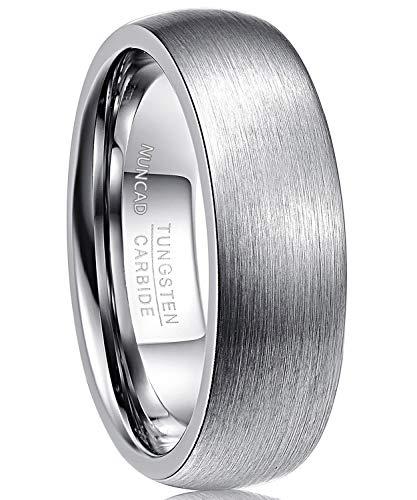 anello donna tungsteno NUNCAD Anello Uomo Donna Semplicein Tungsteno Argento7 mm Taglia (23)