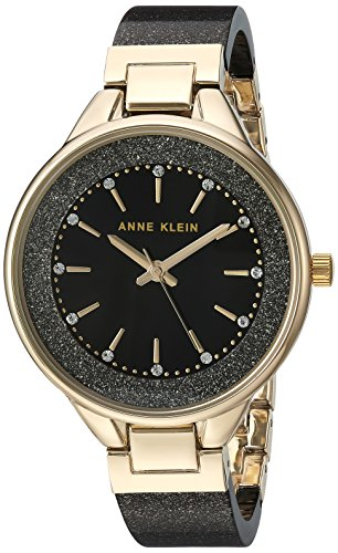 Anne Klein Women's AK/1408BKBK Premium Crystal Accented Gold-Tone and Black Shimmer Resin Bangle Watch