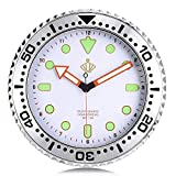 Lafocuse Reloj de Pared Silencioso Luminoso Creativo Reloj Cuarzo Clasico Blanco para Salon Comedor Dormitorio 30 cm