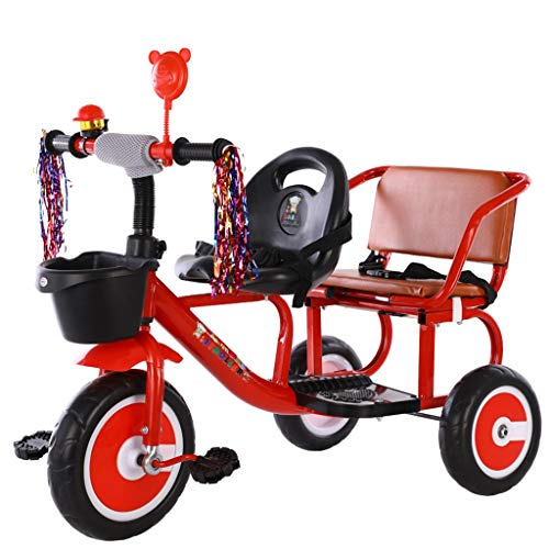 C-Xka Children's Double Tricycle Bicycle, Can Bring People Two-seat Scooter Twin Children Toy Bike Lightweight Balance Bicycle for 1-3-6 Years Old Boys and Girls (Color : Red)