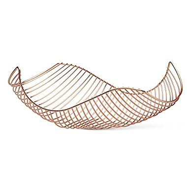 Vistella Fruit Bowl Basket in Rose Gold Copper - Stainless Steel Wire Design with Modern Styling - Decorative Countertop Centerpiece or Serving Storage Basket