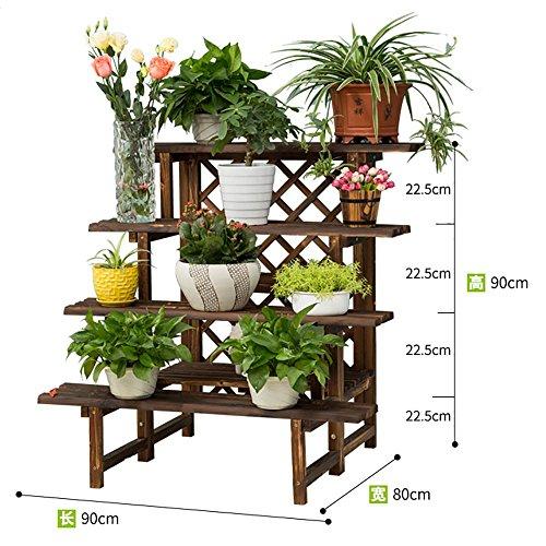 LLLXUHA Bois massif Multi-couche étape par étape Support de fleurs, intérieur Type de plancher Étagère de rangement, balcon Anti-corrosion Plantes charnues Présentoir , Couleur de carbone , 90*80*90cm