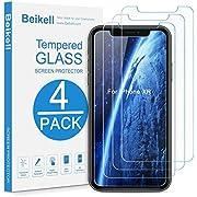 Beikell [ Lot de 4 Verre Trempé pour iPhone XR, Film Protection d'écran en Verre Trempé Protecteur Vitre-Dureté 9H 2.5D Bord, sans Bulles, Anti-Rayures-pour iPhone XR 6.1 Pouces-Compatible avec Coque