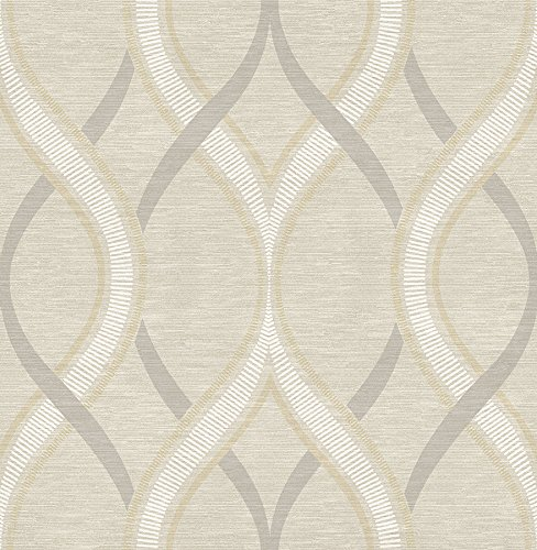 A-Street Prints 2625-21849 Frequency Ogee Wallpaper, Beige