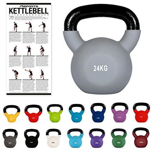 MSPORTS Kettlebell Neopren 2 – 30 kg inkl. Übungsposter Kugelhantel (24 kg - Grau)