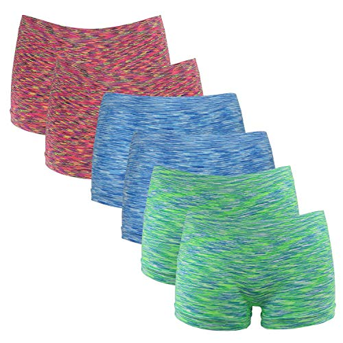 Fabio Farini Damen Panties 6er Pack Hipsters Boxershorts nahtlos, Seamless aus weichem Microfaser-Gewebe 2X Neon Rot/2x Neon Grün/2x Neon Blau S-M