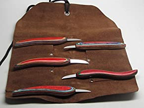 5pc Chip Wood Carving Knife Whittling Caricature Leather Tool Roll