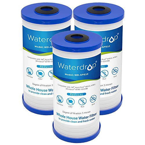 Waterdrop AP810 Whole House Water Filter, Replacement for 3M Aqua-Pure AP810, AP801, AP811, Whirlpool WHKF-GD25BB, Pack of 3