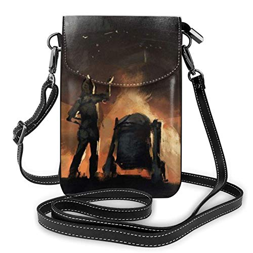 Mandalorian Yo-da Art Lightweight Small Crossbody Bags Leather Cell Phone Purses Travel Pouch Shoulder Bag Wallet with Credit Card Slots for Women