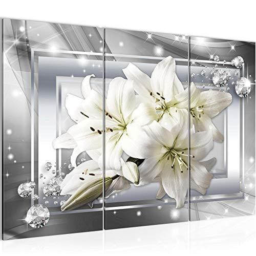 Runa Art Fiori Gigli Quadri Soggiorno Grande Grigio Beige Astratto 120 x 80 cm 3 Pezzi Decorazione Murale 021731c