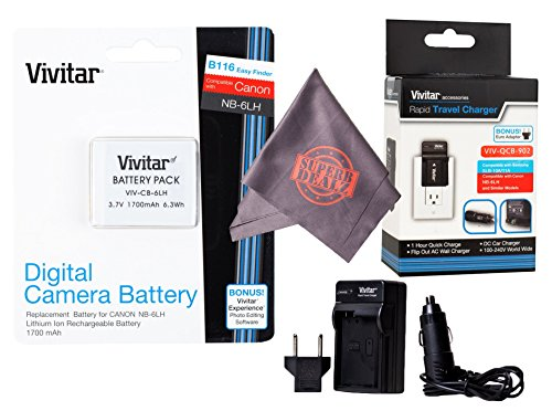 Vivitar NB-6L / NB-6LH Ultra High Capacity Rechargeable 1700mAh Li-ion Battery + AC/DC Vivitar Rapid Travel Charger + Microfiber Lens Cleaning Cloth for Canon PowerShot (NB-6L / NB-6LH Replacement)