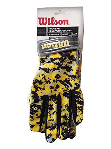 Wilson Football Receiver Gloves Adult M Super Grip Yellow & Black Camo