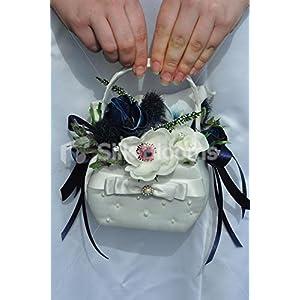 Gorgeous Artificial Fresh Touch Midnight Blue Anemone Flowergirl Basket