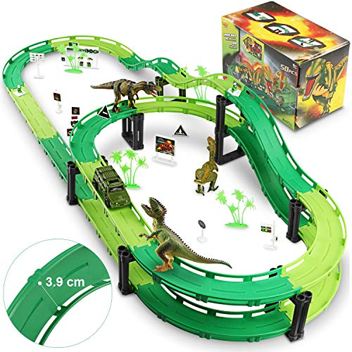WOSTOO Dinosaur Tracks Toy Set Car Race Track Train Tracks Set With 1 Car And 3 Dinosaurs Toys For Boys Toddlers Kids Game Gifts Playset