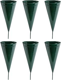 Metal Cone Cemetery Vase, 6-Pack
