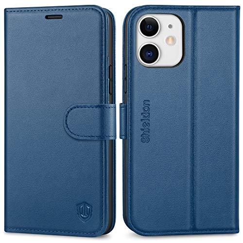 SHIELDON iPhone 12 Hülle, Handyhülle iPhone 12 Pro [100% Rindsleder] [4 Kartenfächer] [Schutz vor Stoß] [Stand] [Magnet], Ledertasche Klapphülle Zubehör Kompatibel für iPhone 12/12 Pro 6,1 Königsblau