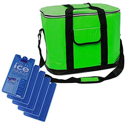 BigDean XXL Kühltasche 30L groß grün - mit 5 Marken-Kühlakkus - Faltbare Thermotasche Umhängetasche Isoliertasche Picknick-Tasche Kühlbox Strandtasche