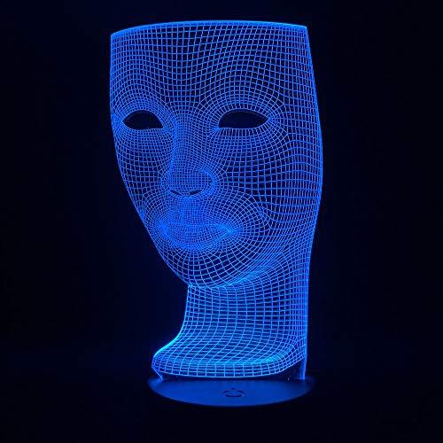 Cambio de color LED decoración fresca Luz de noche LED Luz de cara tridimensional Luz de noche para adultos Luz 3D Regalo de Halloween Luz de noche colorida