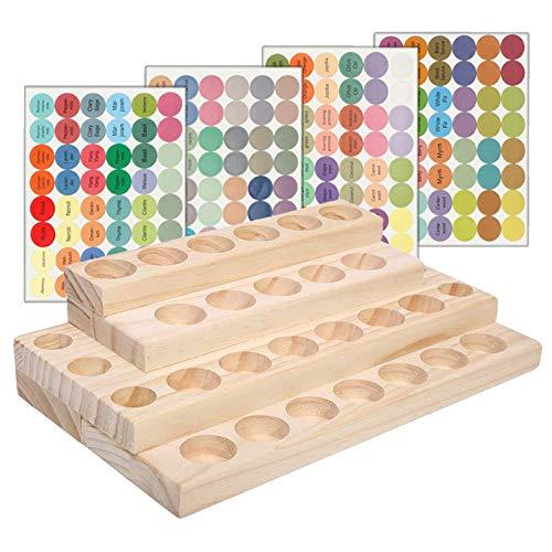 Gracelaza Marco Holder Caja de Bambú de Almacenamiento de Aceite Esencial de 30 Ranuras - Almacenamiento 5 a 10 ml de Botellas de Aceites Esenciales y Perfume #4