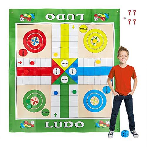 Relaxdays Ludo XXL, große Brettspiel Matte inklusive 16 Spielsteine, 2 Würfel & 4 Heringe, Garten Ludo, 160x180 cm, bunt, 10030902