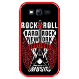Funda Roja para [ Samsung Galaxy Grand Lite - Grand Neo - Neo Plus ] diseño [ Rock Star - Rock and Roll Vintage Cartel 1 ] Carcasa Silicona Flexible TPU