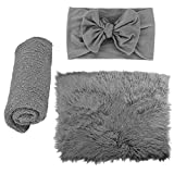 ZOYLINK Newborn Fotoshooting Wrap, 3 PCS Baby Decke Haarband DIY Newborn Shooting Requisiten...