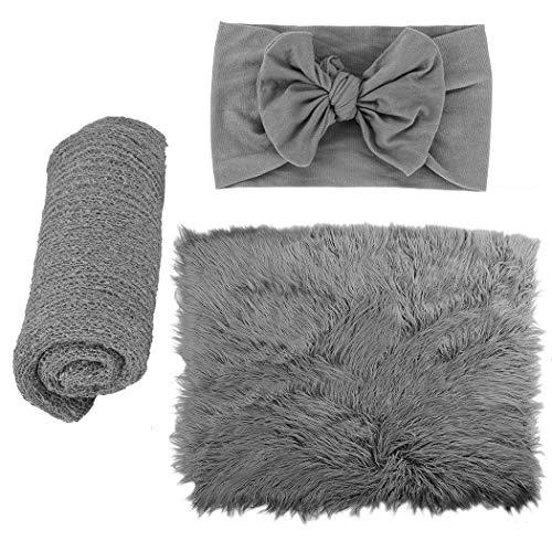 ZOYLINK Newborn Fotoshooting Wrap, 3 PCS Baby Decke Haarband DIY Newborn Shooting Requisiten Accessoires Foto Requisiten Baby Teppich Knit Wrap für Baby Fotografie Taufe Fotoshootings