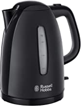 Russell Hobbs Textures Plastic Kettle 21271, 1.7 L, 3000 W - Black [Energy Class A]