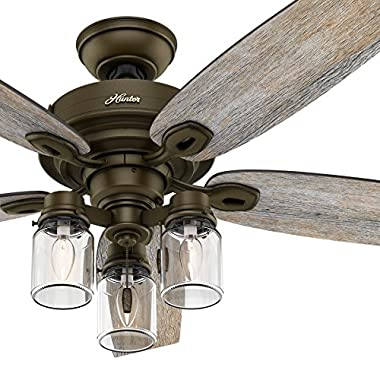 Hunter Fan 52  Regal Bronze Ceiling Fan includes Three-light Fitter with Clear Glass, 5 Blade (Certified Refurbished)