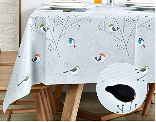 KAZBIS PVC Rectangular Wipeable Table Cloth - Oil-Proof and Waterproof Cover for Kitchen Dining - Coffee and Picnic Tablecloth - Just Wipe to Clean (Grey-bird, 140 x 220 cm)