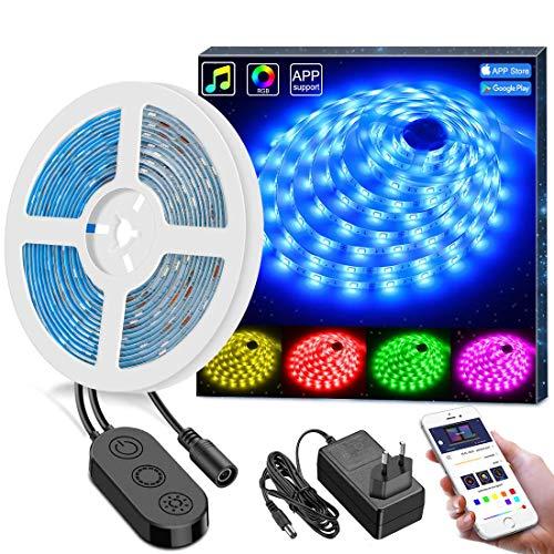 MINGER WiFi LED Streifen, Smart LED Strip 5m mit App, Wasserdicht Lichtband, kompatibel mit Google Home, Alexa (5G WiFi nicht unterstützt)
