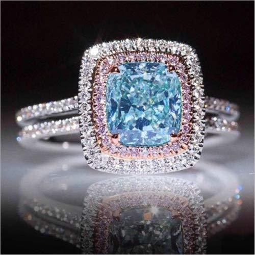 Bella Jewelry Shop Luxury Princess Cut Aquamarine&Pink Topaz Wedding Ring White Gold Womens Jewelry (8)