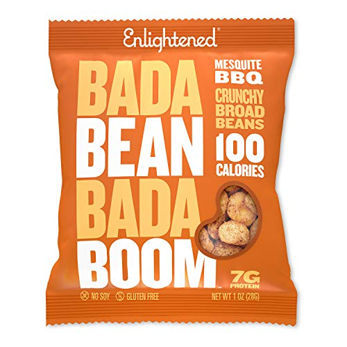 Enlightened Bada Bean Bada Boom Plant-based Protein, Gluten Free, Vegan, Non-GMO, Soy Free, Roasted Broad Fava Bean Snacks, Mesquite BBQ, 1 Ounce (24 Count)
