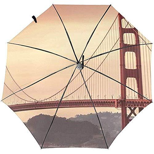 Paraguas de Viaje a Prueba de Viento Impreso Golden Gate Bridge - Toldo Reforzado a Prueba de Viento